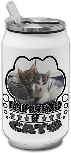 Easily Distracted by Cats Funny Novelty Stainless Steel Thermos Drinking Can